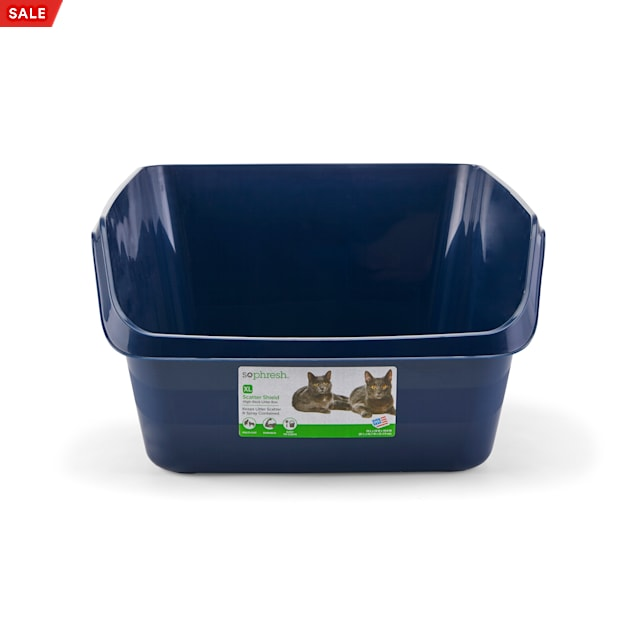 "So Phresh Scatter Shield High-Back Litter Box in Navy, 24"" L X 18"" W X 10"" H - Carousel image #1"