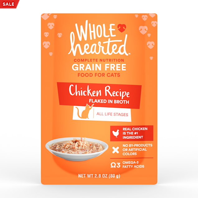 WholeHearted Grain Free Chicken Recipe Flaked in Broth Wet Cat Food, 2.8 oz., Case of 12 - Carousel image #1