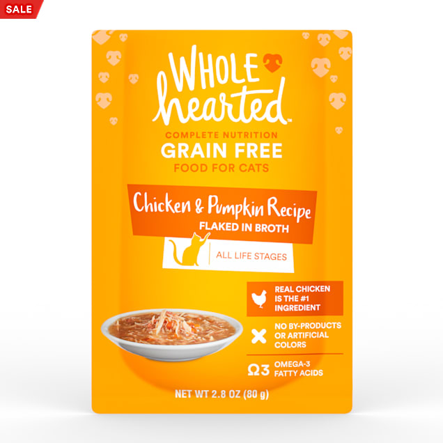 WholeHearted Grain Free Chicken & Pumpkin Recipe Flaked in Broth Wet Cat Food, 2.8 oz., Case of 12 - Carousel image #1