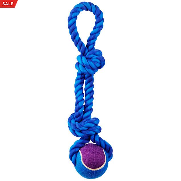 """Leaps & Bounds Toss and Tug Tennis Ball and Rope Handle Dog Toy, 13"""" - Carousel image #1"""