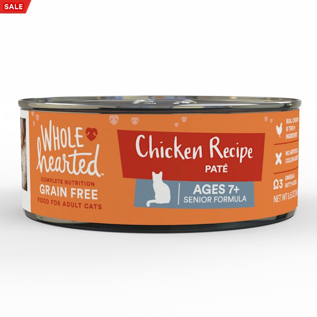 WholeHearted Grain Free Chicken Recipe Pate Senior Wet Cat Food, 5.5 oz., Case of 24 - Carousel image #1