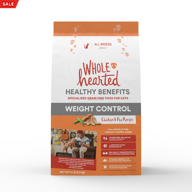 WholeHearted Grain-Free Weight Control Chicken and Pea Recipe Dry Cat Food, 5 lbs. - Carousel image #1