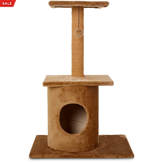 """Animaze Brown Cat Tree Condo with Scratching Post, 36"""" H - Carousel image #1"""