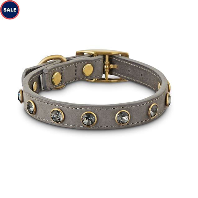 Bond & Co. Jeweled Gray Suede Dog Collar, X-Small/Small - Carousel image #1