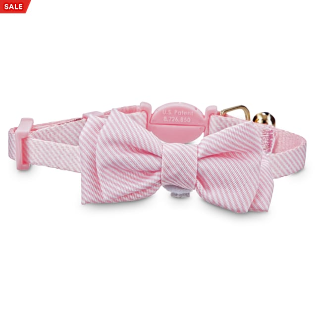 Easter Cat Bow Tie Collar Green Seersucker Cat Bow Tie Collar Preppy Cat Collar with Bell and Bow Tie Spring Cat Collar and Bow