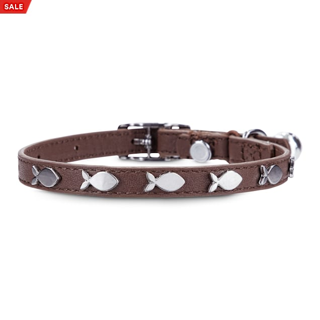 Bond & Co. Fish-Charm-Studded Brown Leather with Safety Stretch Cat Collar - Carousel image #1