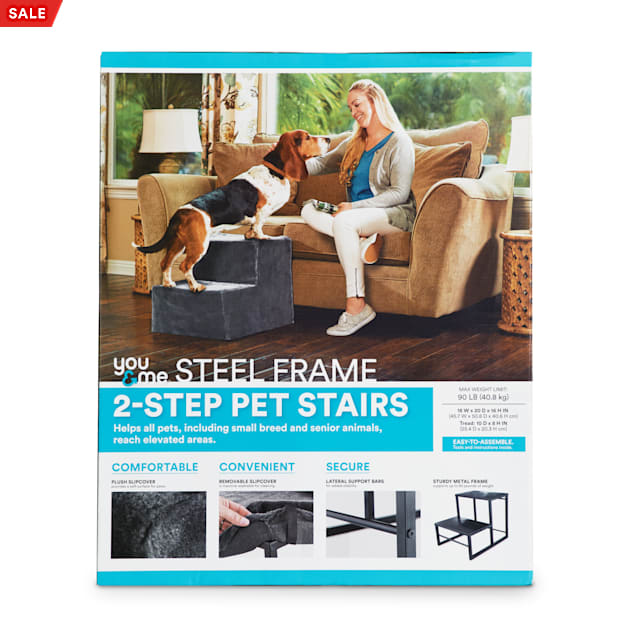 """You & Me Steel Frame 2-Step Pet Stairs with Plush Slipcover, 18"""" W X 16"""" H X 20"""" D - Carousel image #1"""