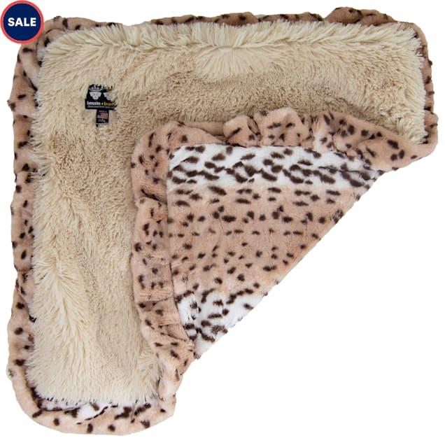 "Bessie & Barnie Luxury Ultra Plush Aspen Snow Leopard Blondie Pet Blanket for Dogs, 36"" x 36"" - Carousel image #1"