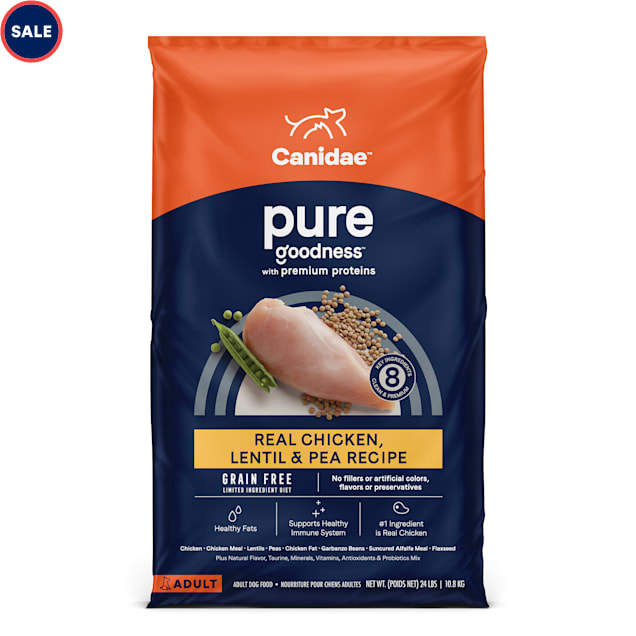 CANIDAE PURE Grain Free Limited Ingredient Real Chicken, Lentil & Pea Recipe Dry Dog Food, 24 lbs. - Carousel image #1