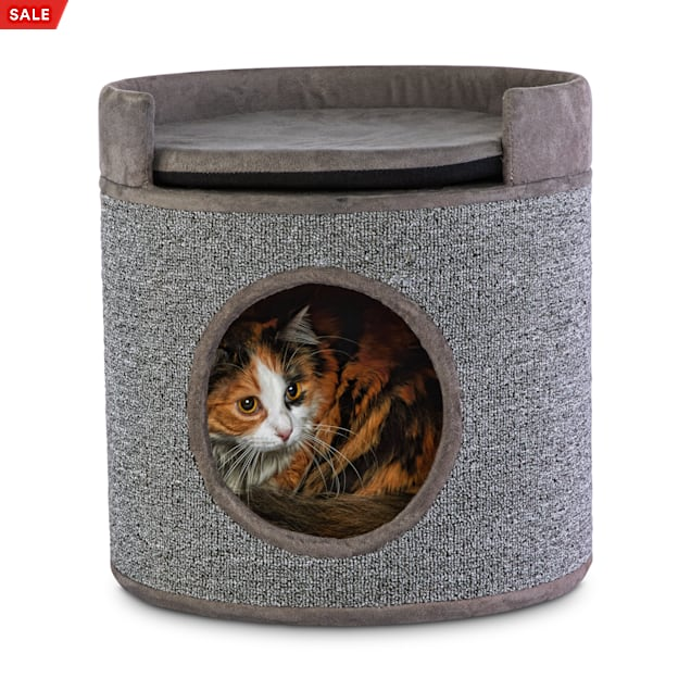 """You & Me Cozy Cottage Cat Condo with Perch and Cushion, 15.75"""" H - Carousel image #1"""