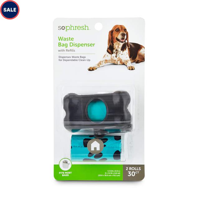 So Phresh Black Bone-Shaped Paw Print Dog Waste Bag Dispenser with Refills, Count of 30 - Carousel image #1