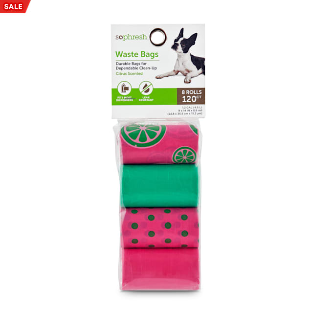 So Phresh Pink and Green Citrus-Print Dog Waste Bags, Count of 120 - Carousel image #1