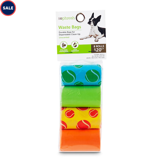 So Phresh Multicolored Tennis-Ball-Print Dog Waste Bags, Count of 120 - Carousel image #1