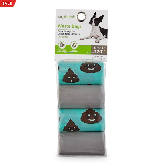 So Phresh Aqua and Light Grey Smiley Poop Dog Waste Bags, Count of 120 - Carousel image #1