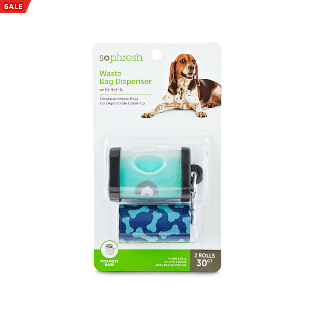So Phresh Navy and Aqua Waste Bag Dispenser with Refills for Dogs, Count of 30 - Carousel image #1