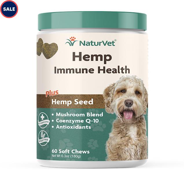 NaturVet Hemp Immune Support Soft Chews for Dogs, Count of 60 - Carousel image #1