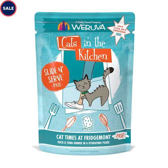 Cats in the Kitchen Slide 'n Serve Pate Cat Times at Fridgemont Duck & Tuna Dinner Wet Food, 3 oz., Case of 12 - Carousel image #1