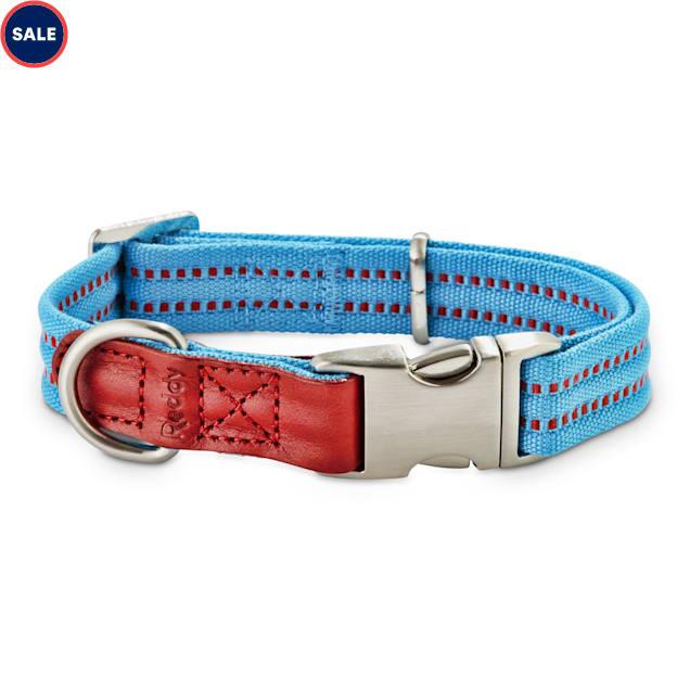 Reddy Cerulean Blue Webbed Dog Collar, Small - Carousel image #1