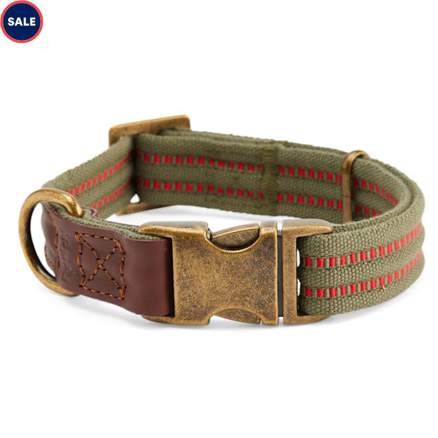 Reddy Olive Webbed Dog Collar, X-Small/Small - Carousel image #1