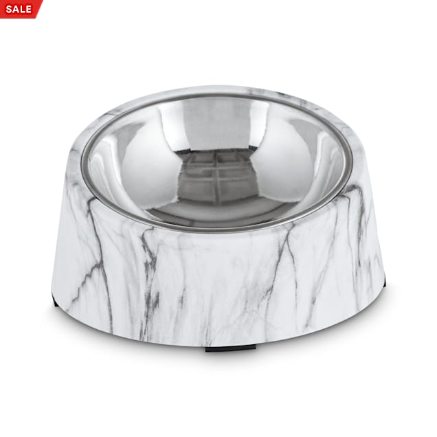 Harmony Slanted Marble-Print Base and Stainless-Steel Dog Bowl Set, 1.7 Cups - Carousel image #1