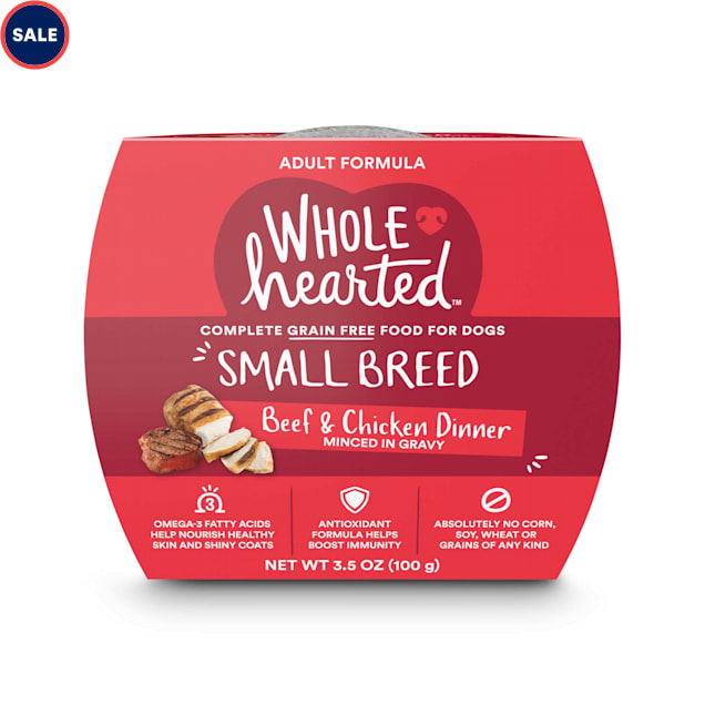 WholeHearted Grain Free Small Breed Beef and Chicken Dinner Adult Wet Dog Food, 3.5 oz., Case of 8 - Carousel image #1