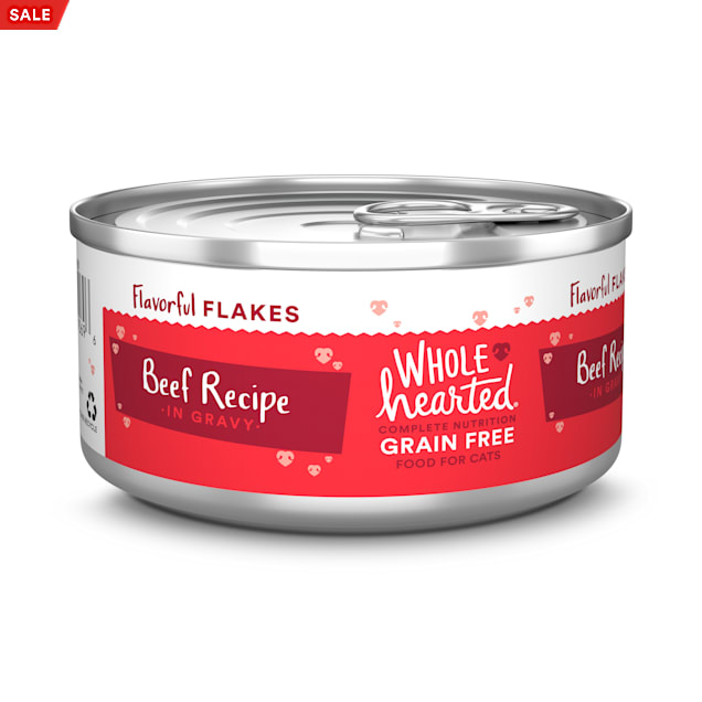 WholeHearted Grain Free Beef Recipe Flaked Wet Cat Food for All Life Stages, 5.5 oz. - Carousel image #1