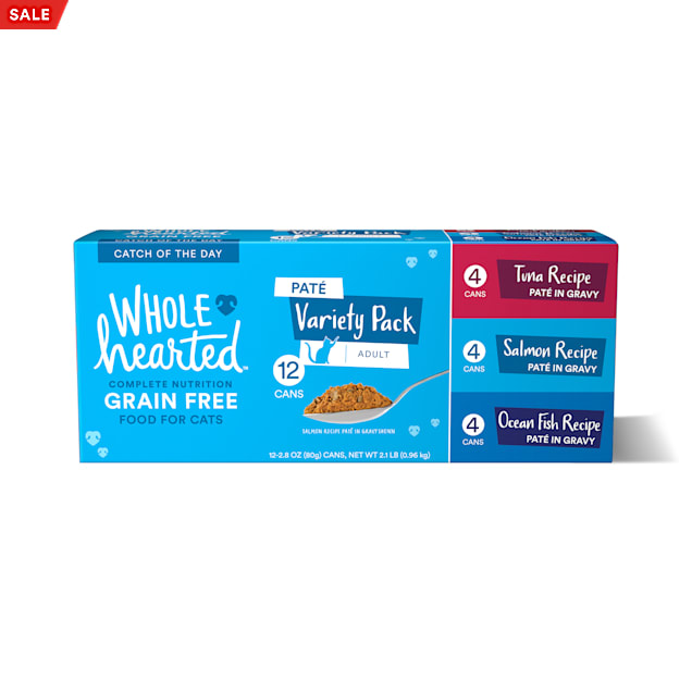 WholeHearted Grain Free Pate Catch of the Day Wet Cat Food Variety Pack for All Life Stages, 2.8 oz. - Carousel image #1