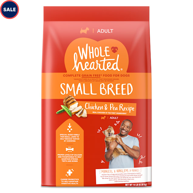 WholeHearted Grain Free Small-Breed Chicken and Pea Recipe Adult Dry Dog Food, 14 lbs. - Carousel image #1