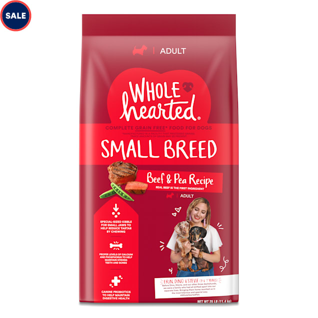 WholeHearted Grain Free Small-Breed Beef and Pea Recipe Adult Dry Dog Food, 25 lbs. - Carousel image #1