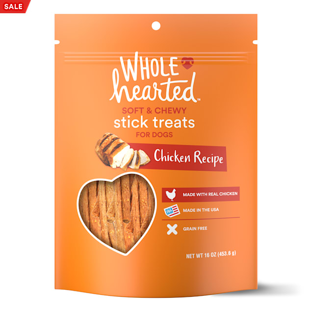 WholeHearted Grain Free Soft and Chewy Chicken Recipe Dog Stick Treats, 16 oz - Carousel image #1