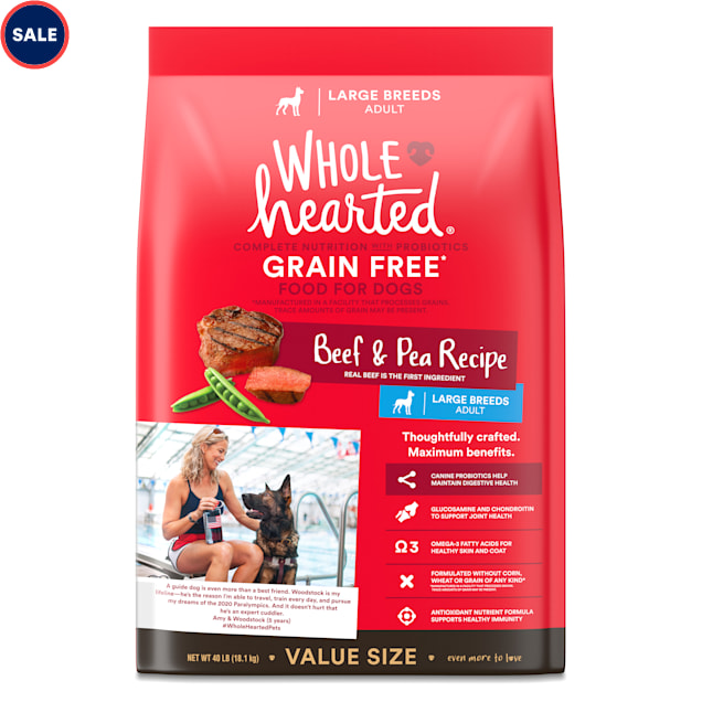 WholeHearted Grain Free Large Breed Beef and Pea Recipe Adult Dry Dog Food, 40 lbs. - Carousel image #1