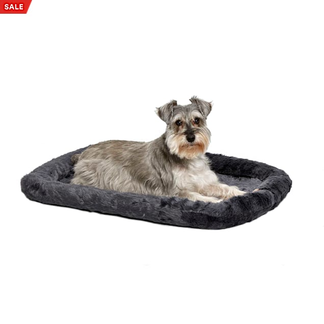 """Midwest Quiet Time Bolster Gray Dog Bed, 30"""" L X 21"""" W - Carousel image #1"""