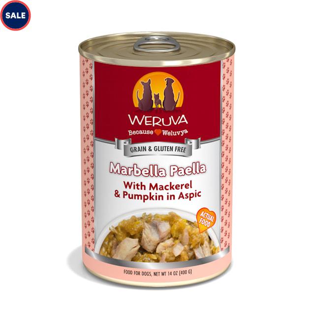 Weruva Classics Marbella Paella with Mackerel & Pumpkin in Aspic Wet Dog Food, 14 oz., Case of 12 - Carousel image #1