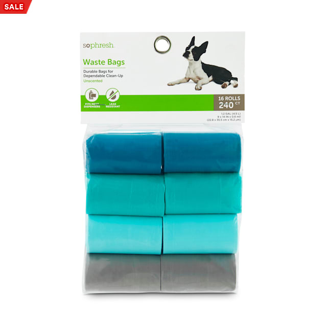 So Phresh Aqua and Multicolored Solid Dog Waste Bags, Count of 240 - Carousel image #1