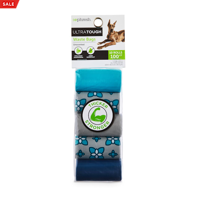 So Phresh Flower-Print Ultra-Tough Waste Bag Refill Rolls for Dogs, Count of 100 - Carousel image #1