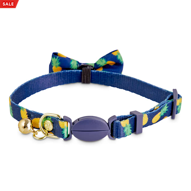 Bond & Co. Navy Pineapple Print Breakaway Bow Tie Cat Collar - Carousel image #1