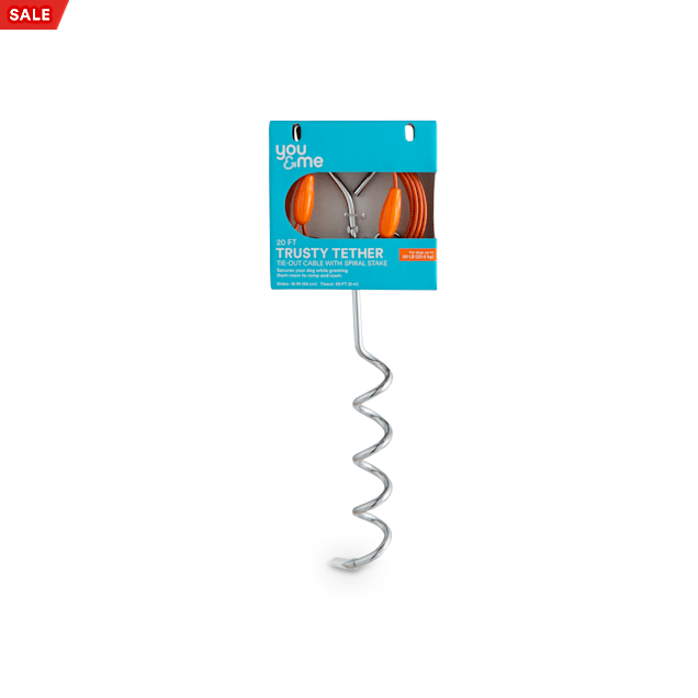 You & Me Trusty Tether Tie-Out Cable with Spiral Stake for Dogs up to 50 lbs., 20' L, Medium - Carousel image #1