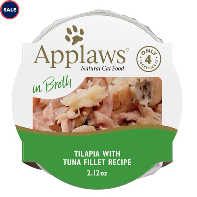Applaws Natural Tilapia with Tuna in Broth Wet Cat Food, 2.12 oz., Case of 18 - Carousel image #1