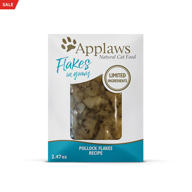 Applaws Natural Pollock Flakes in Gravy Wet Cat Food, 2.47 oz., Case of 12 - Carousel image #1