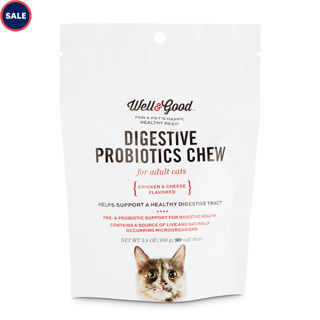 Well & Good Digestive Probiotics Soft Chews for Adult Cats, Count of 90 - Carousel image #1