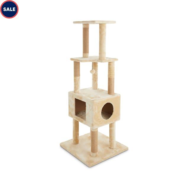 "Animaze 4-Level Tan Cat Tree with Condo, 60"" H - Carousel image #1"