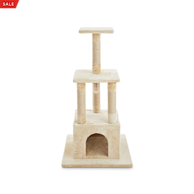 """Animaze 4-Level Tan Cat Tree with Dual Entry, 45"""" H - Carousel image #1"""