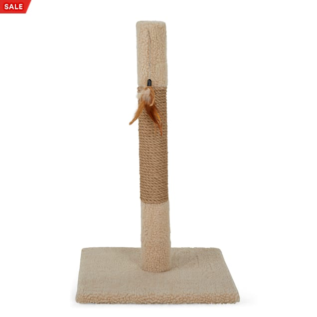 """Animaze Scratcher Post with Feather Tan Cat Toy, 25.5"""" H - Carousel image #1"""