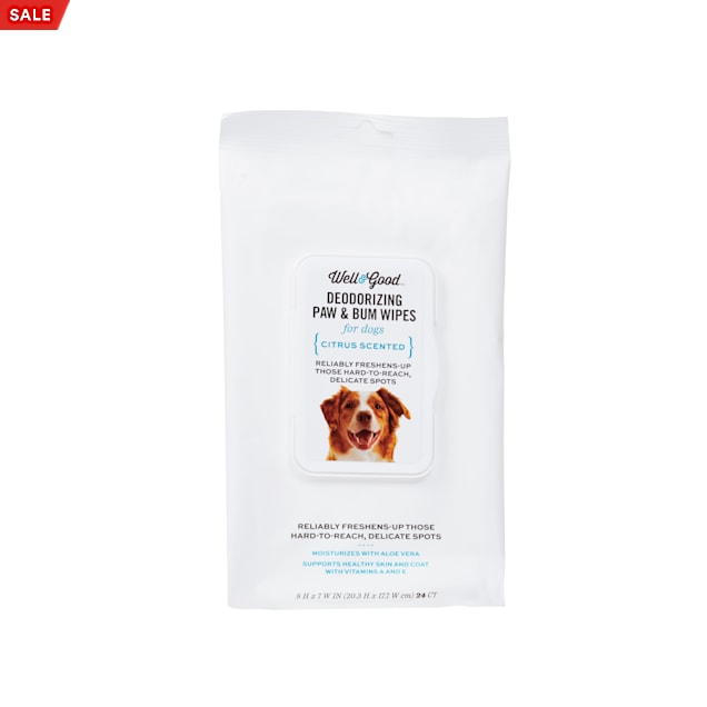 Well & Good Deodorizing Paw and Bum Dog Wipes, Pack of 24 - Carousel image #1
