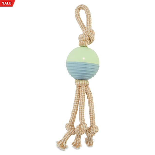 Leaps & Bounds Playful by Nature Toss & Tug Rubber Ball Tassel Rope Dog Toy, Medium - Carousel image #1