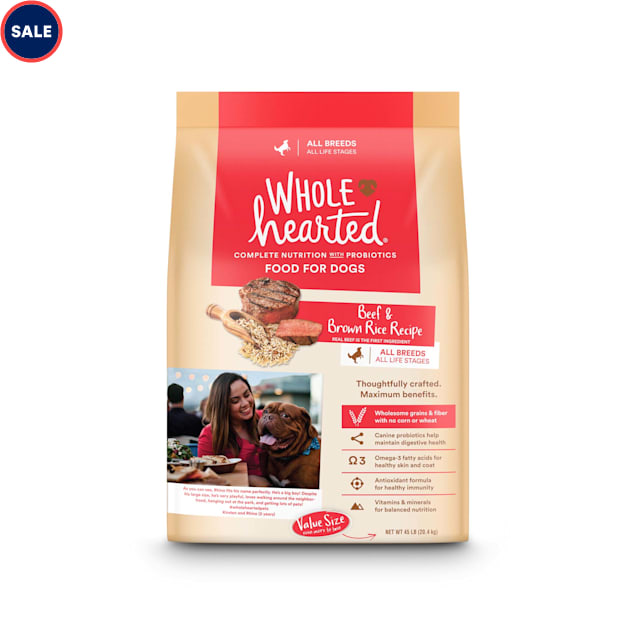 WholeHearted All Life Stages Beef and Brown Rice Recipe Dry Dog Food, 45 lbs. - Carousel image #1