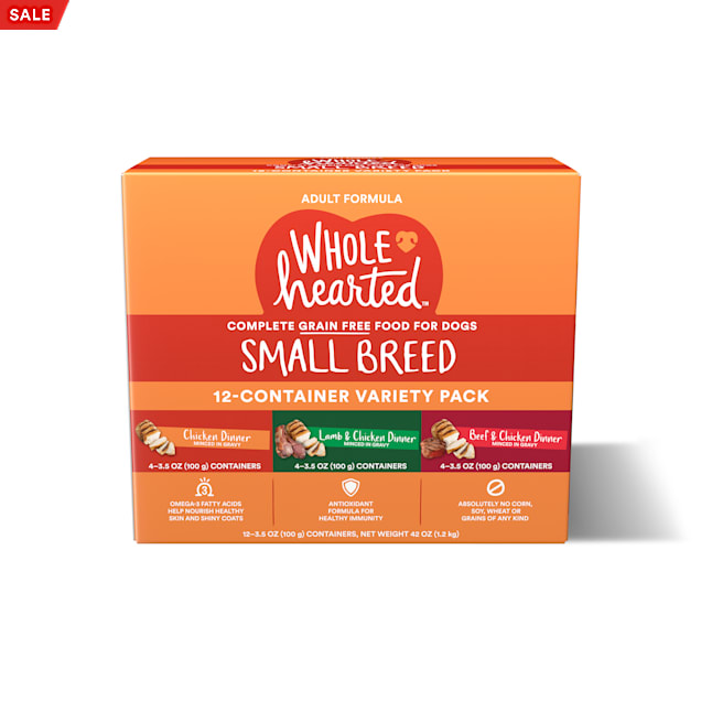 WholeHearted Grain Free Small Breed Minced in Gravy Adult Wet Dog Food Variety Pack, 3.5 oz., Count of 12 - Carousel image #1