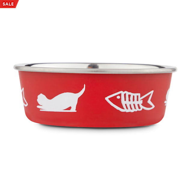 Harmony Fish Lover's Skid-Resistant Stainless Steel Red Cat Bowl, 1 Cup - Carousel image #1