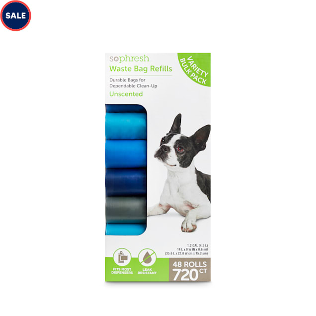 So Phresh Unscented Blue Dog Waste Bag Refill Roll Variety Bulk Pack, Count of 720 - Carousel image #1