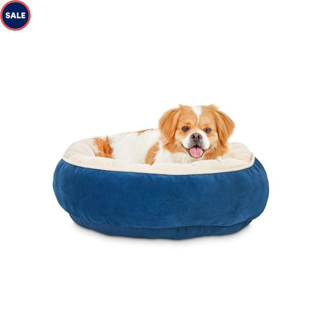 "Animaze Navy Round Bolster Dog Bed, 20"" L X 20"" W X 6"" H - Carousel image #1"